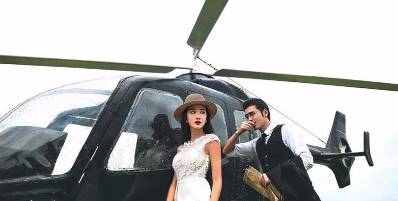 试过在直升飞机上拍婚照吗,真的很有特色